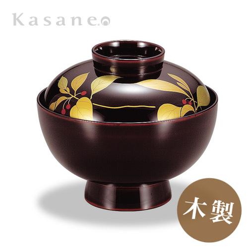 《漆器 山久漆工Kasane》ダイニングを和で彩る-定番の蓋付きお椀。小さな赤い実が印象的 吸物椀 溜内黒 藪柑子蒔絵(1客)