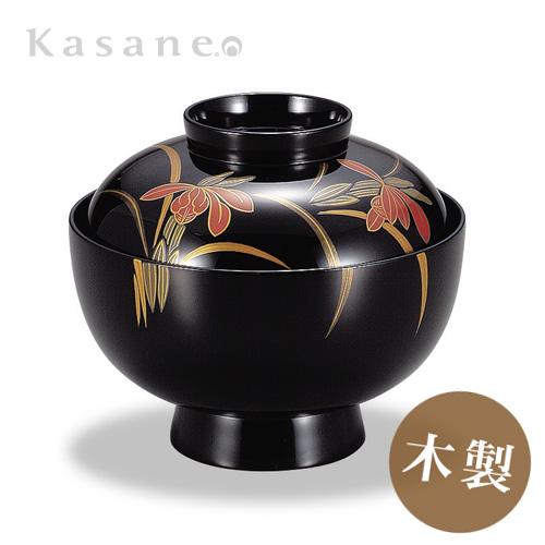 《漆器|山久漆工Kasane》ダイニングを和で彩る-定番の蓋付きお椀。蒔絵の高級品 吸物椀 黒 春蘭蒔絵 5客セット