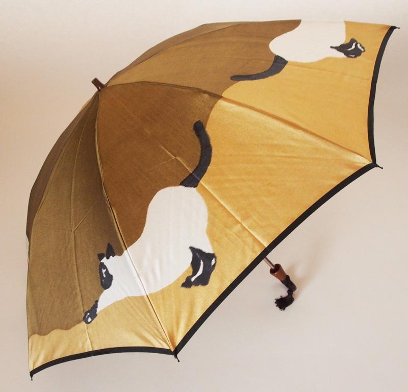 【猫(ブラウン/オークル)】モンブランヤマグチほぐし織り(二段折畳傘)