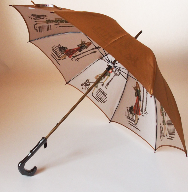 NEW【両面ほぐし織】長傘『巴里(パリ)の散歩道』ゴールドベージュモンブランヤマグチほぐし織り軽量カーボン骨バージョン