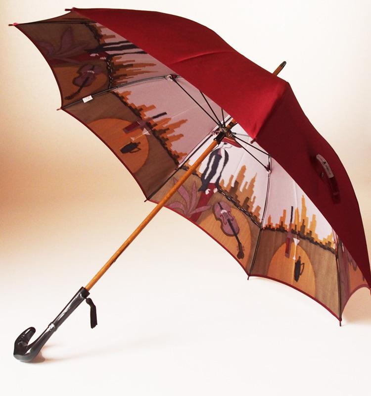 NEW【両面ほぐし織】長傘『愛の翼(空港)』ダークレッドモンブランヤマグチほぐし織り軽量カーボン骨バージョン