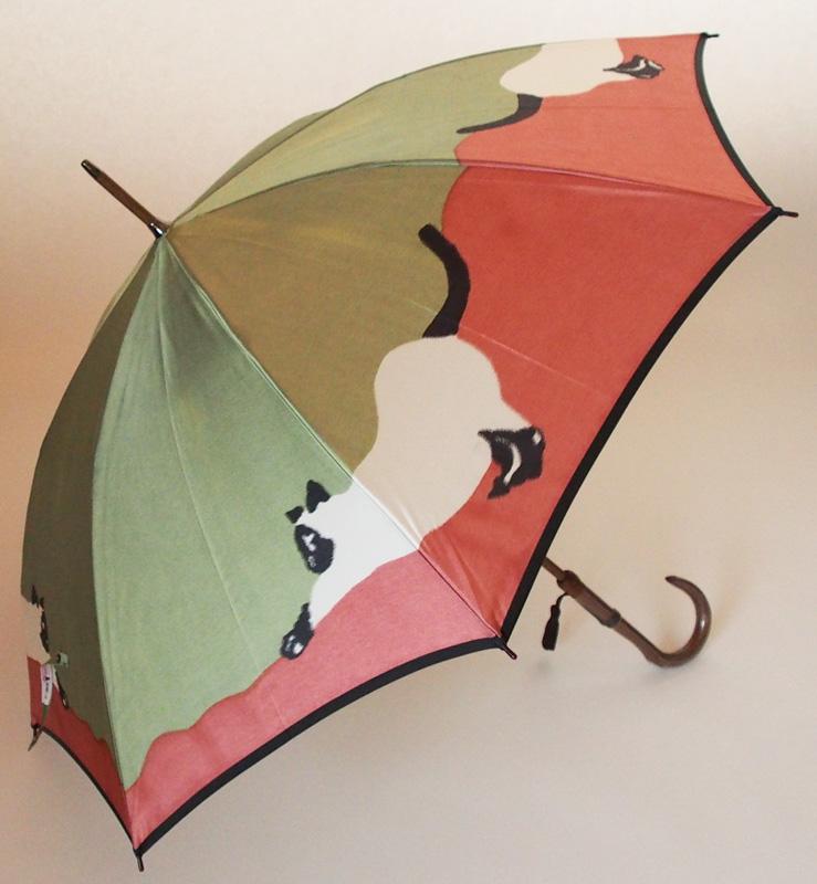 猫(長傘)色:エメラルド/ピンクモンブランヤマグチ ほぐし織り 婦人雨傘軽量カーボン骨バージョン(約360g)