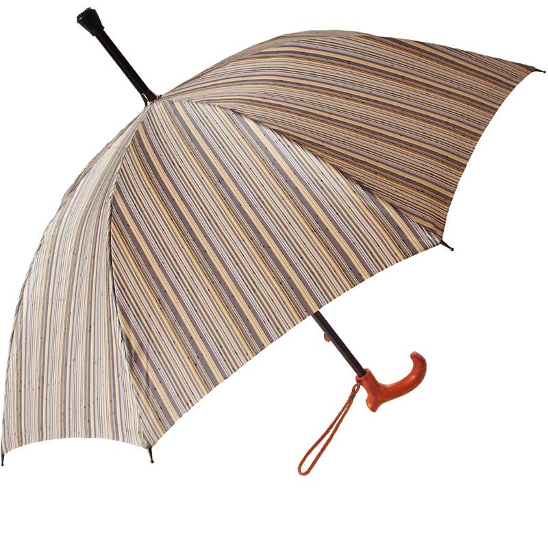 ★素敵なステッキ傘晴雨兼用 婦人杖傘しましまレディース(パープル)(全長約78cm)サイズカット加工無料UVカット加工*税/送料込み価格*