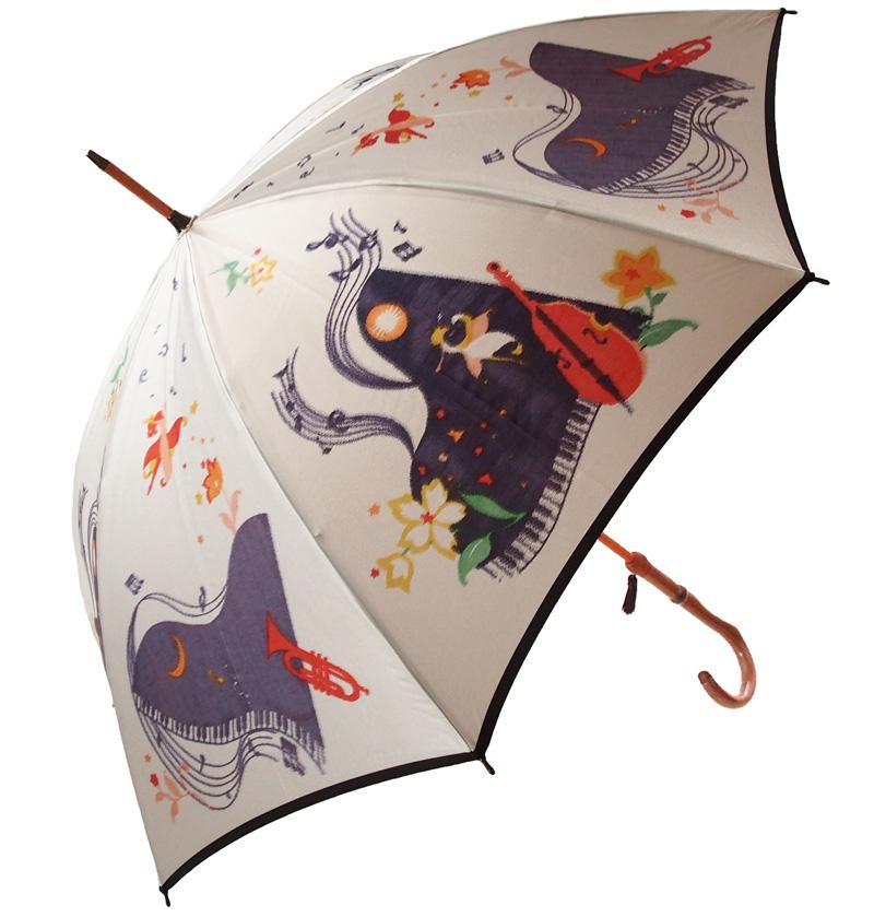 ワルツ・フォー・ステラ(長傘)色:グレーモンブランヤマグチ ほぐし織り 婦人雨傘軽量カーボン骨バージョン(約360g)