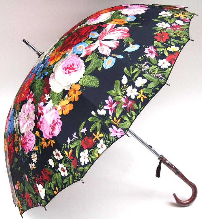【お名前入OK】カトリーヌの庭セルメス加工(丸張り)で花園を表現した美しい傘