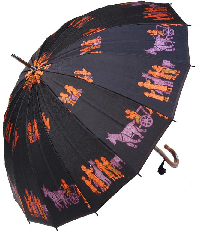 ◆ほぐし織り◆エジプト (ルクソールブラック) 長傘 モンブランヤマグチ 16本骨婦人雨傘※お名前入れは不可です特別仕様カーボン骨+樫(かし)中棒軽量約370g