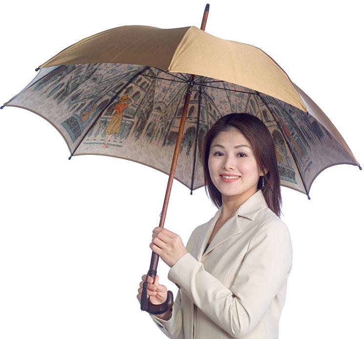 【両面 ほぐし織】モンブラン婦人雨傘・長傘 『伊太利亜の駅』旅情と郷愁が響きあう傘