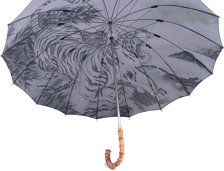 ◆洋傘のエイト◆セルメス加工(丸張り)躍動する虎を墨絵調に表現した芸術的傘千虎夢(Centrum)紳士傘