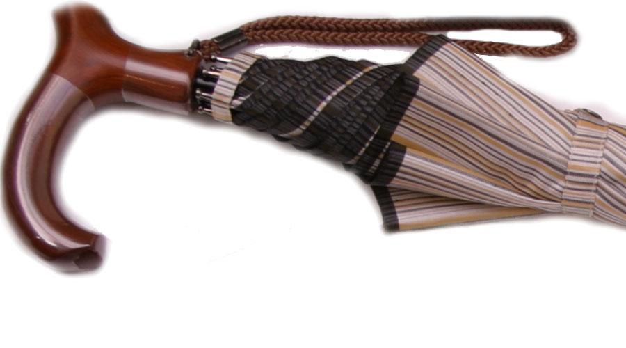 ★素敵なステッキ傘晴雨兼用 婦人杖傘しましまレディース(ベージュ)(全長約79cm)サイズカット加工無料UVカット加工