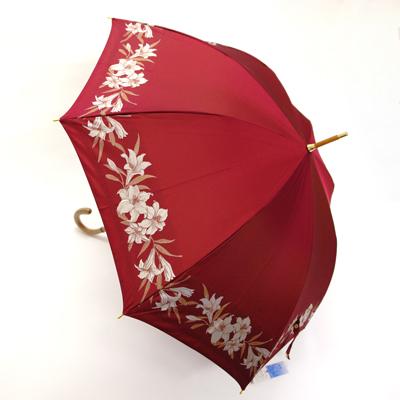 【お買い物マラソン ポイント10倍】【負担1700円OFFクーポン】【送料無料】婦人雨傘LANCETTI百合の花軽量(手開き)】