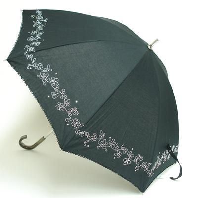レディースT/C 無地銀コード刺繍+ラインストーン 晴雨兼用傘【日傘】 ショートタイプ