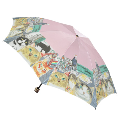 『在庫限り』マンハッタナーズ傘 猫の絵の傘『NY猫絵暦・六月』婦人用雨傘ミニタイプミニ雨傘