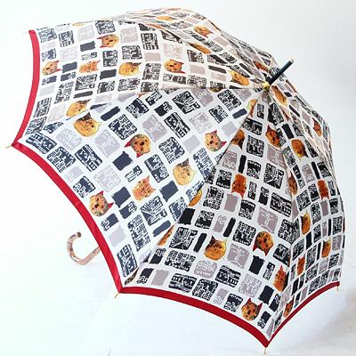 「街角と猫たち」(ワンタッチ式) 稀少価値商品婦人雨傘マンハッタナーズ傘 レディース「街角と猫たち」(ワンタッチ式)