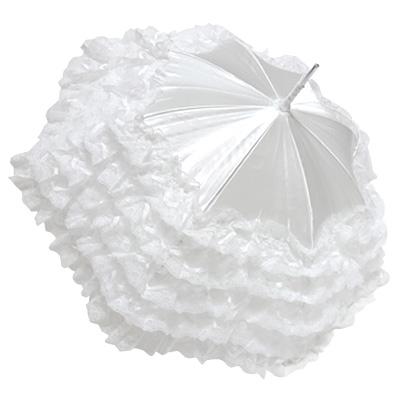 【ウェディングパラソル】レディース幸せの日傘(パラソル)少し短めポリエステルサテン5段フリルスレンダー手開き