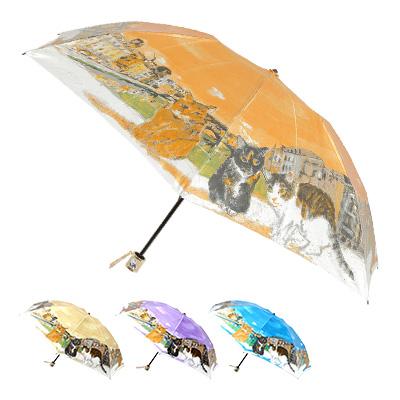 【在庫限り】婦人マンハッタナーズ傘MASTERPIELE 可愛い猫の傘 COLLECTION「ポンテ・ベッキオ橋と猫友たち・ミニ傘」レディース雨傘  軽量傘ミニ折り畳み傘