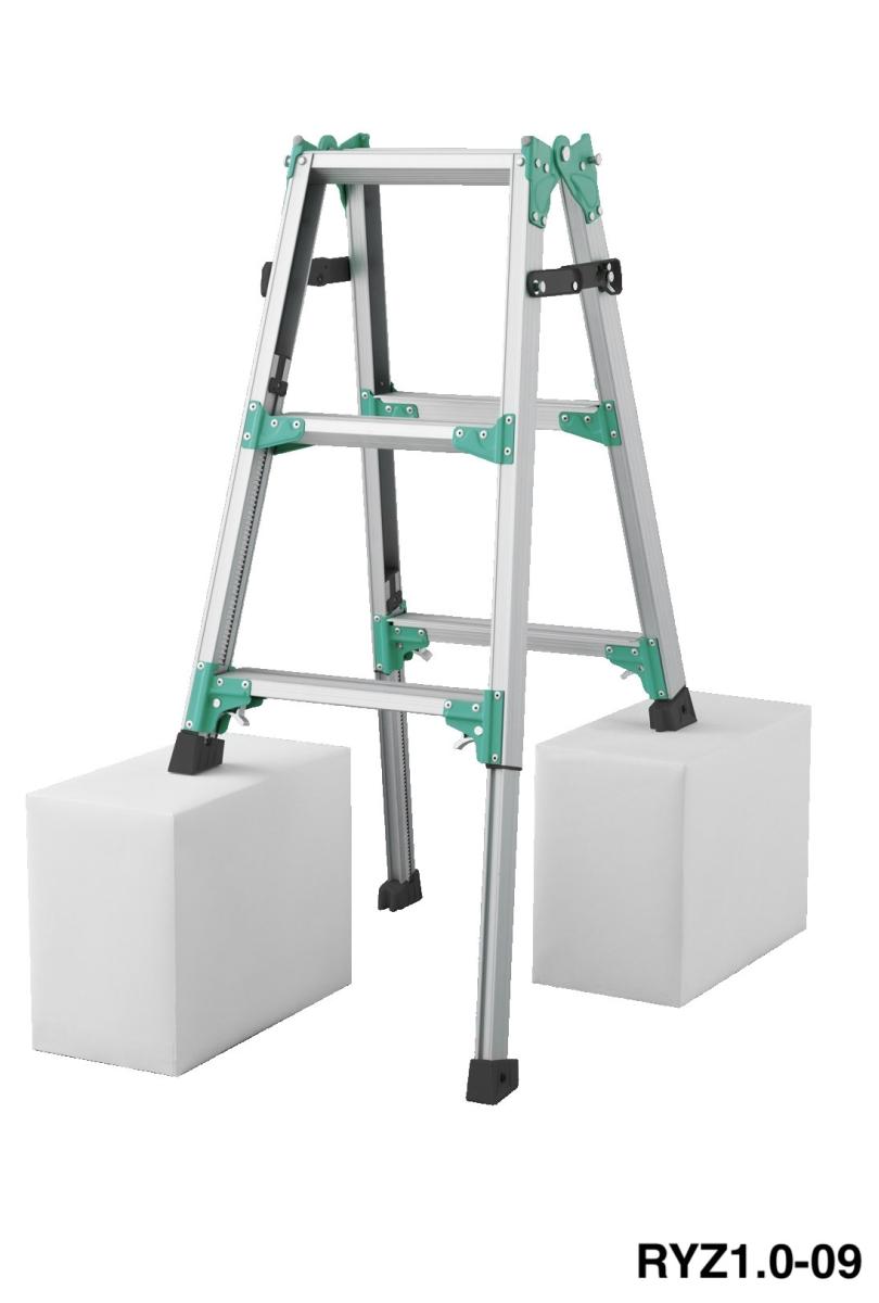 送料無料 脚部伸縮式はしご兼用脚立 RYZ1.0-09 天板高さ:720mm~1,030mm(新品)(長谷川工業)