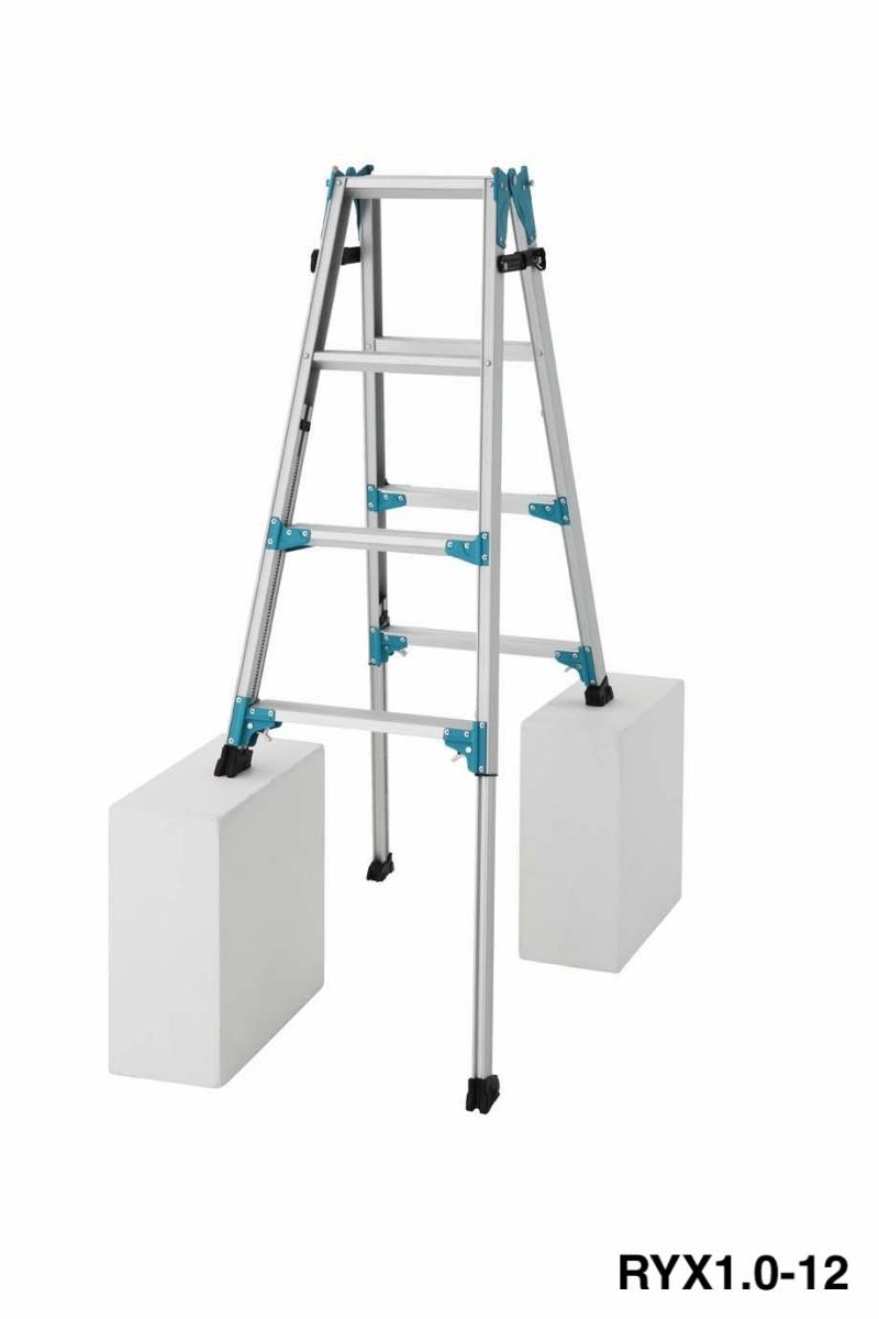 送料無料 脚部伸縮式はしご兼用脚立 RYX1.0(天板高さ:1,020~1,470mm RYX1.0-12)(新品)(長谷川工業)