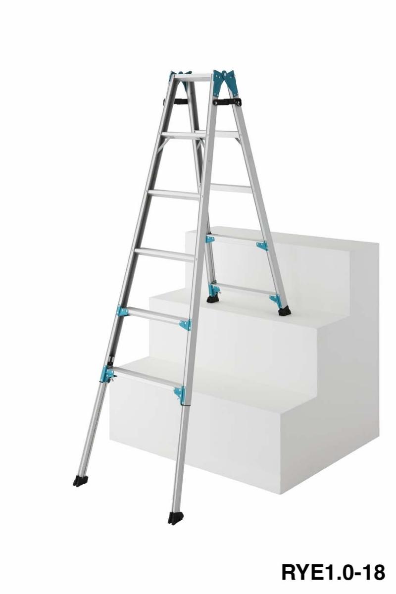 送料無料 脚部伸縮式はしご兼用脚立 RYE1.0-12 天板高さ:1,020mm~1,470mm(新品)(長谷川工業)
