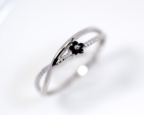 K18WG 0.05ct ブラック ダイヤモンド フラワー リング