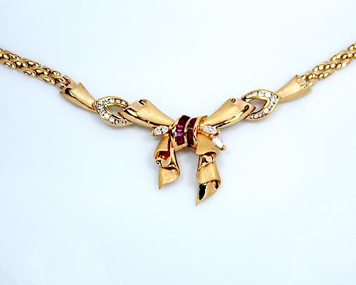 【限定1本】K18 0.5ctルビー/0.5ctダイヤモンドデザインネックレス (OF3853)