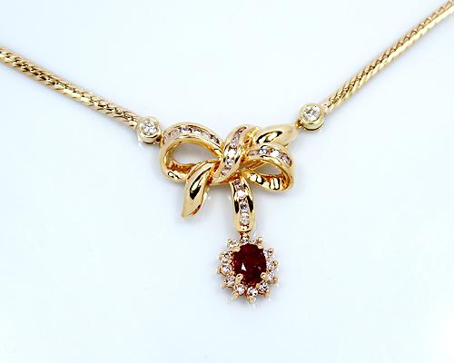 【限定1本】K18 0.68ctルビー/0.72ctダイヤモンドデザインネックレス (OF3858)