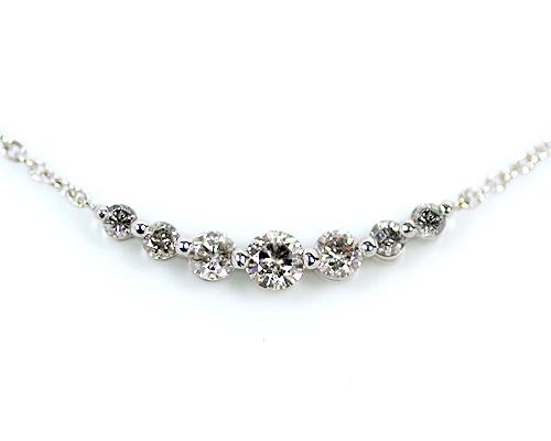 Silver 0.35ct ダイヤモンド 7ストーン ペンダント