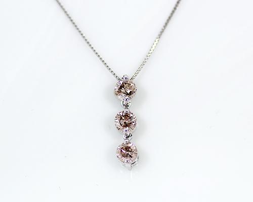 K18WG 0.5ct ブラウンダイヤモンド3ストーンペンダント
