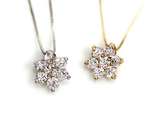 K10/WG 0.3ct ダイヤモンド7ストーンペンダント