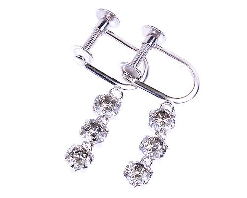 プラチナ1.0ctダイヤモンド3ストーンイヤリング