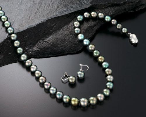 8-10mm黒蝶真珠ネックレス&イヤリング 43cm