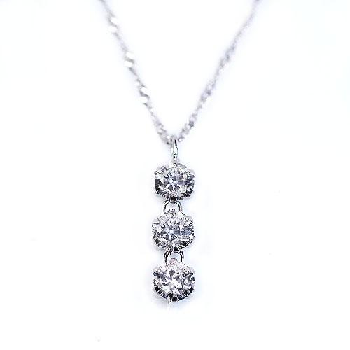 純プラチナ台 0.3ct ダイヤモンド 3ストーン ペンダント