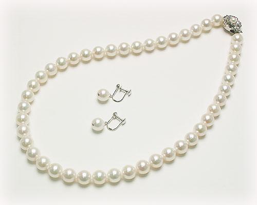 8.5~9mmあこや本真珠ネックレス&イヤリング・ピアス