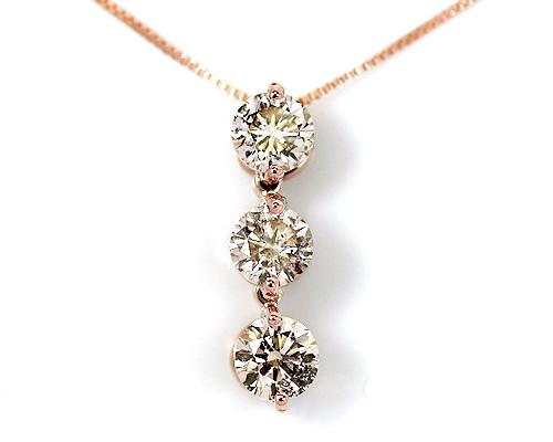 K18/WG/PG 0.5ct ブラウンダイヤモンド3ストーンペンダント