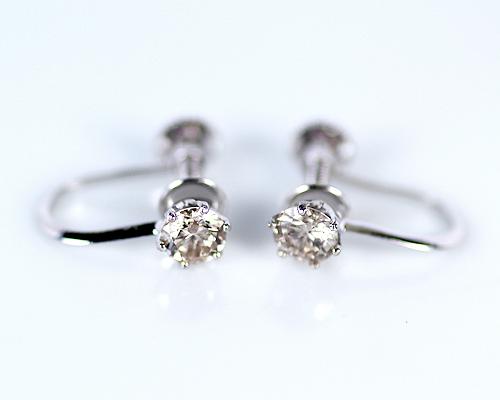 K18WG 0.3ct ブラウンダイヤモンドイヤリング (090427)