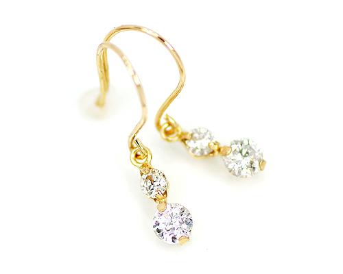18金 計0.3ct 天然 ダイヤモンド チャーム フック ピアス ゴールド ホワイトゴールド ピンクゴールド ダイヤ トータル0.3 2本爪 アメリカン