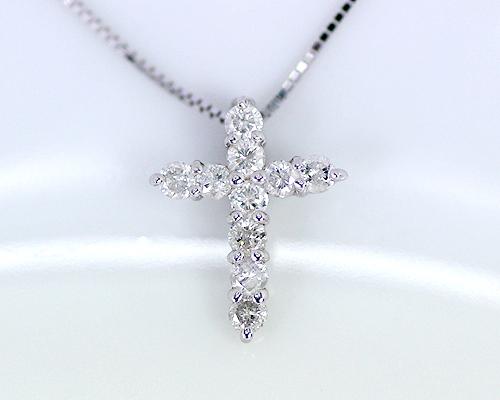 K10WG 0.2ct ダイヤモンド クロス ペンダント ベネチアンチェーン
