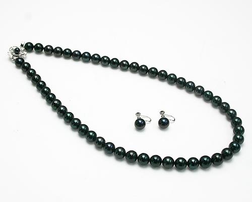8~8.5mm黒真珠ネックレス&ピアス/イヤリング