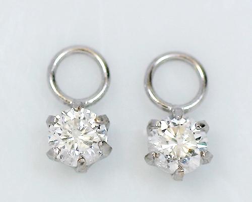 18金 計0.2ct 6爪 天然 ダイヤモンド チャーム ゴールド ホワイトゴールド ピンクゴールド ダイヤ ピアス 6本爪