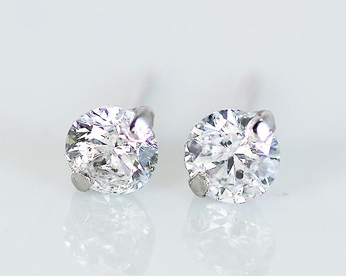 K18WG 0.4ct 1粒ダイヤモンド2爪ピアス