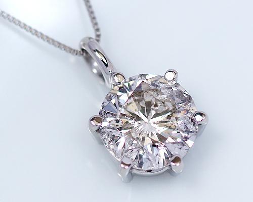 1.5ct プラチナ ダイヤモンド 6爪 ペンダント (Hカラー・I1クラス・GOODカット) 鑑定書 ネックレス 婚約指輪 ダイヤ 天然ダイヤ女性用 レディース 6爪 ファッション