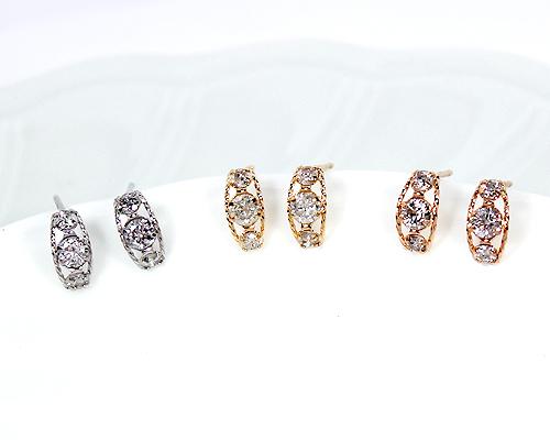 K18/WG/PG 0.3ctダイヤモンド3ストーンピアス (276162)