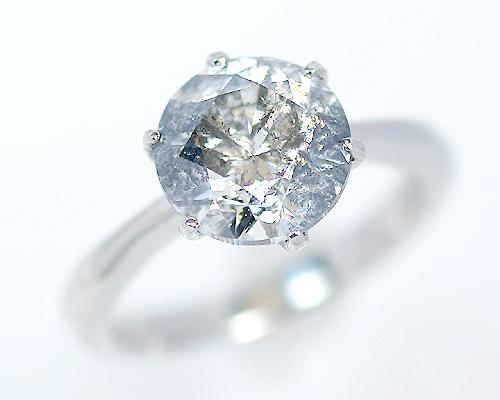 3.0ct プラチナ ダイヤモンド 6爪 リング (Hカラー・I1クラス・Fairカット) 鑑定書 エンゲージリング 婚約指輪 ダイヤ 指輪 天然ダイヤ 結婚 婚約 女性用 レディース ブライダルジュエリー ファッション