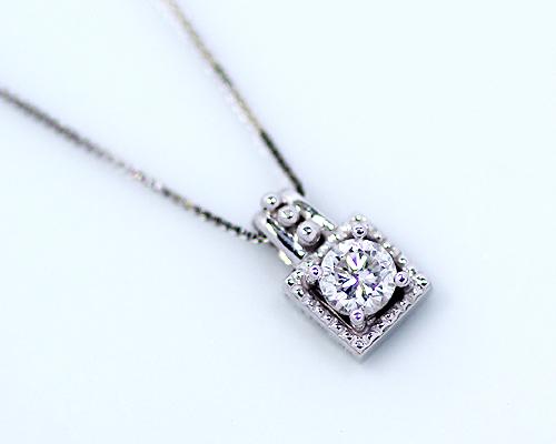 K18/WG/PG台 0.1ct ダイヤモンドペンダント (10金ベネチアンチェーン)
