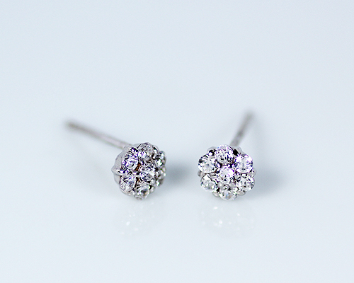 K18 WG PG 0.2ct ダイヤモンド フラワー ピアス