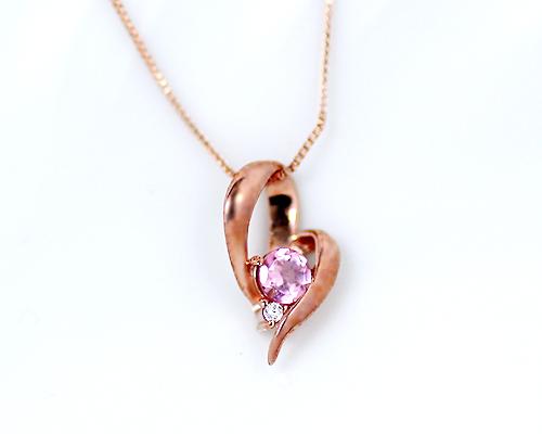 【クーポン利用で15%OFF】K10PG 0.005ctダイヤモンド/ピンクトルマリンハートペンダント