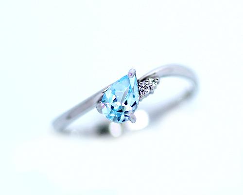 【クーポン利用で15%OFF】K10WG 0.015ct ダイヤモンド ブルートパーズ ペアシェイプ リング