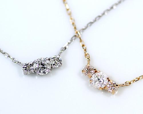 K10/WG 0.25ct ダイヤモンド3ストーンペンダント (301186)