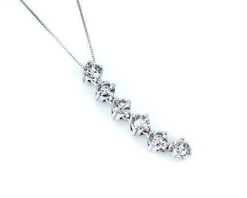 K18WG 1.0ct ダイヤモンドIラインペンダント