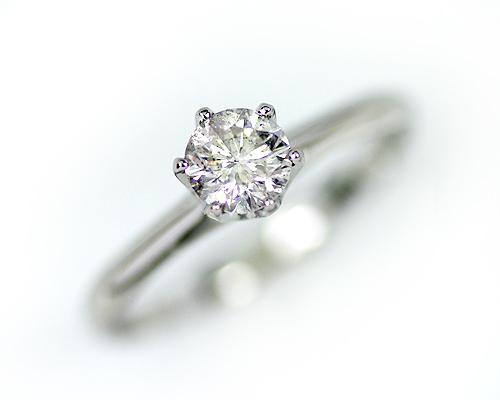 【鑑別書付】【プラチナ】Pt900 0.5ct ダイヤモンド6爪リング