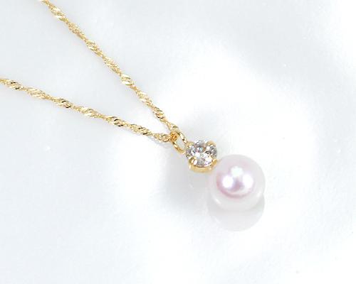K18 5.0mmあこや本真珠/0.09ctダイヤモンドペンダント